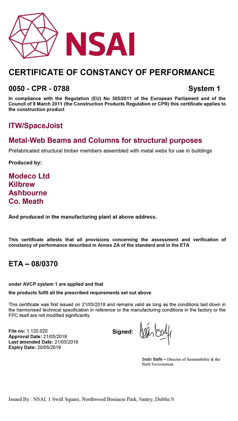 NSAI Modeco Ltd Certificate of Constancy of Performance Metal Web Joists